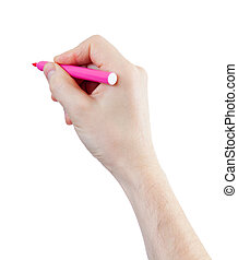 magenta felt pen in hand isolated on white