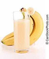 aislado, plátano, jugo