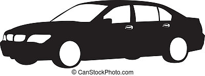silhouette of car - Black-and-white silhouette of the car in...