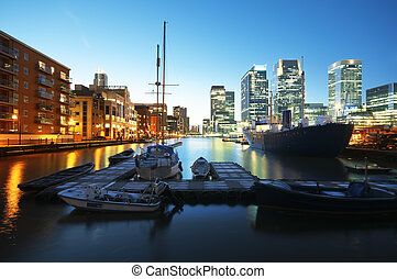 Canary Wharf view from West India Millwall Docks