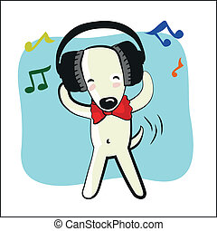 cartoon funny dog in big headphones - cartoon funny white...