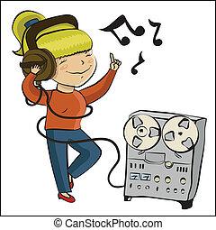 cartoon girl listen music and dance - Cartoon girl listen...