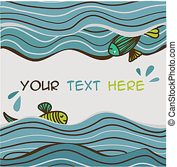 sea waves background with fish and place for text. Vector...