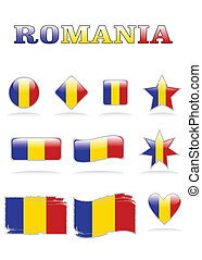 romania flags button eps 8