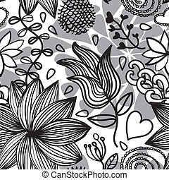 Seamless floral pattern bw - Seamless black and white floral...