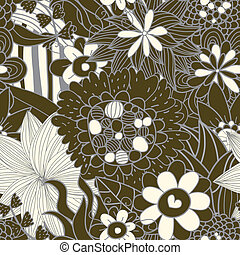 Seamless floral retro pattern in brawn colour with hearts....