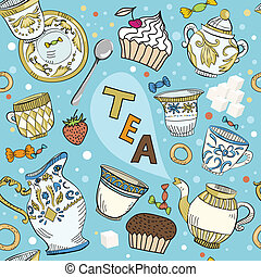 Seamless Victorian tea time pattern with spoon, dishes and...