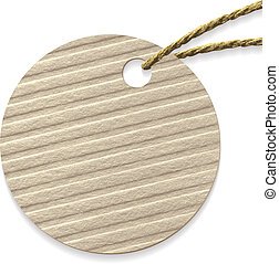 Round cardboard tag with rope.