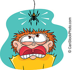 scary spider - boy scared of spider