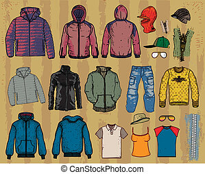 clothing jackets sweaters isolated on light background