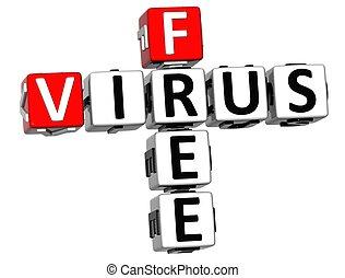3D Virus Free Crossword over white background