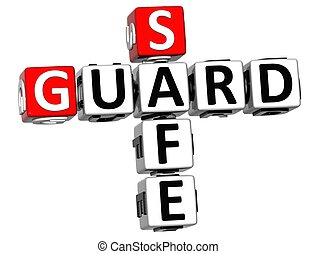 3D Guard Safe Crossword over white background