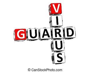 3D Guard Virus Crossword over white background