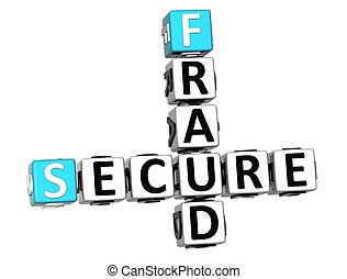 3D Secure Fruad Crossword over white background