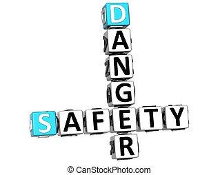3D Safety Danger Crossword over white background