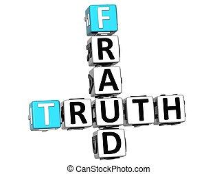 3D Truth Fraud Crossword over white background