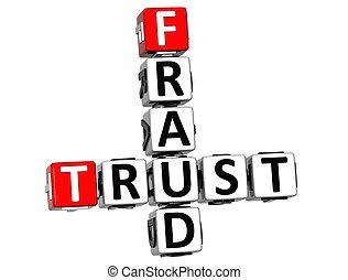 3D Trust Fraud Crossword over white background