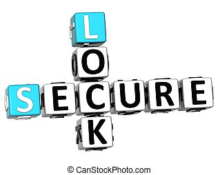 3D Secure Lock Crossword over white background