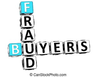 3D Buyers Fraud Crossword over white background