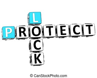 3D Protect Lock Crossword over white background