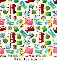 travel icons seamless pattern