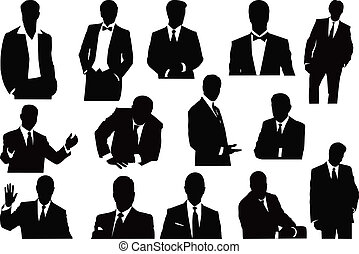 vector sillhouettes collection of businessmen
