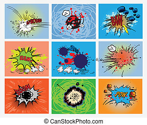 explosions - comic book explosion expressions, isolated on...