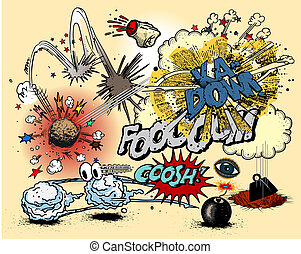 explosions - vector illustration - explosions