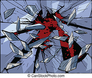 explosion - vector illustration - glass explosion