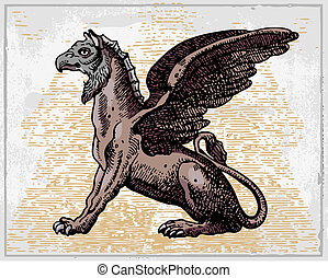 heraldic Griffin - heraldic griffin isolated on light...