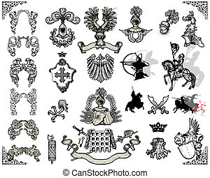 heraldic design elements isolated on light background