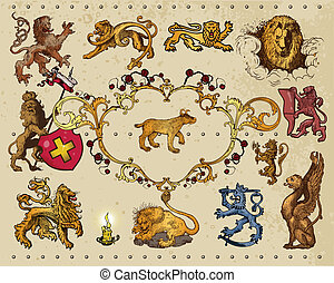 heraldic elements isolated on light background
