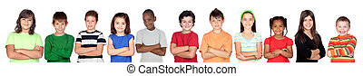 Childrens group with crossed arms isolated on white...