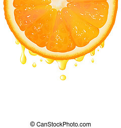 Orange Segment With Juice, Isolated On White Background,...