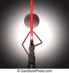 man with a red light sword