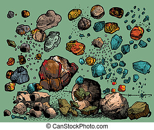 flying rocks and stones isolated on light background