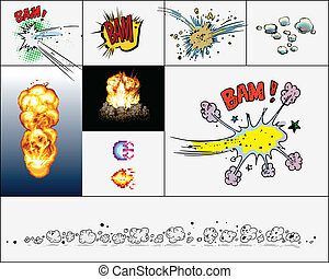 explosions - comic book explosion, isolated on light...