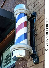 Old fashion barber shop pole - Red, white and blue old...