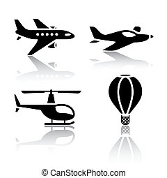 Set of transport icons - aircrafts