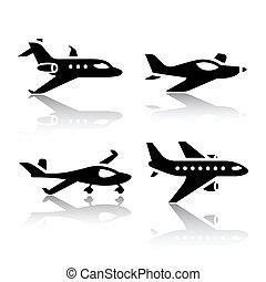 jogo, transporte, ícones, -, avião