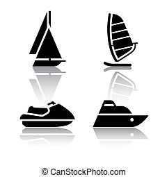 Set of transport icons - boats - Set of transport icons -...