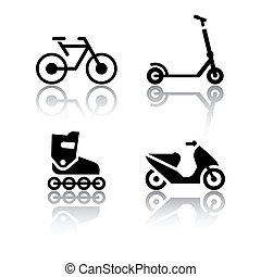 Conjunto, transporte, iconos, -, extremo