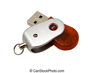 USB red and silver pendrive - USB pendrive isolated on white...