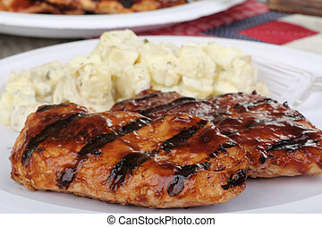 Grilled Chicken Breasts - Two grilled barbeque chicken...