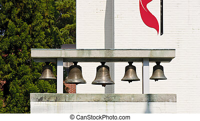 Bells at Methodist Church - Bells on sign at a Methodist...