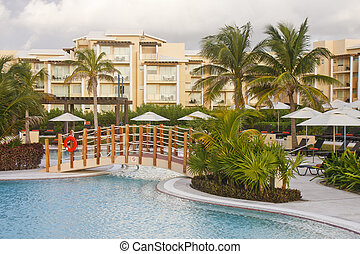 Bridge Over Pool at Tropical Resort