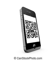 QR Code on Mobile Phone - QR Code Symbol Mobile Phone White...