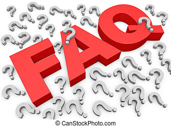 FAQs 3D Text - faq caption and dozens of red question mark