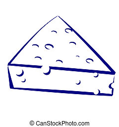 Cheese Blue and white icon Illustration for design