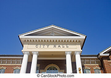 City Hall Entry with Columns - Roofline of a City Hall with...